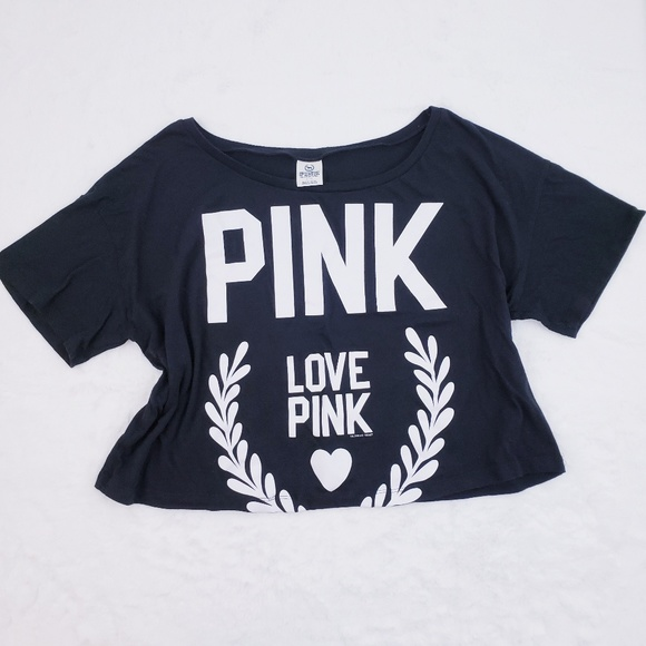 PINK Victoria's Secret Tops - 🚫SOLD🚫 VS PINK Black Crop Tee